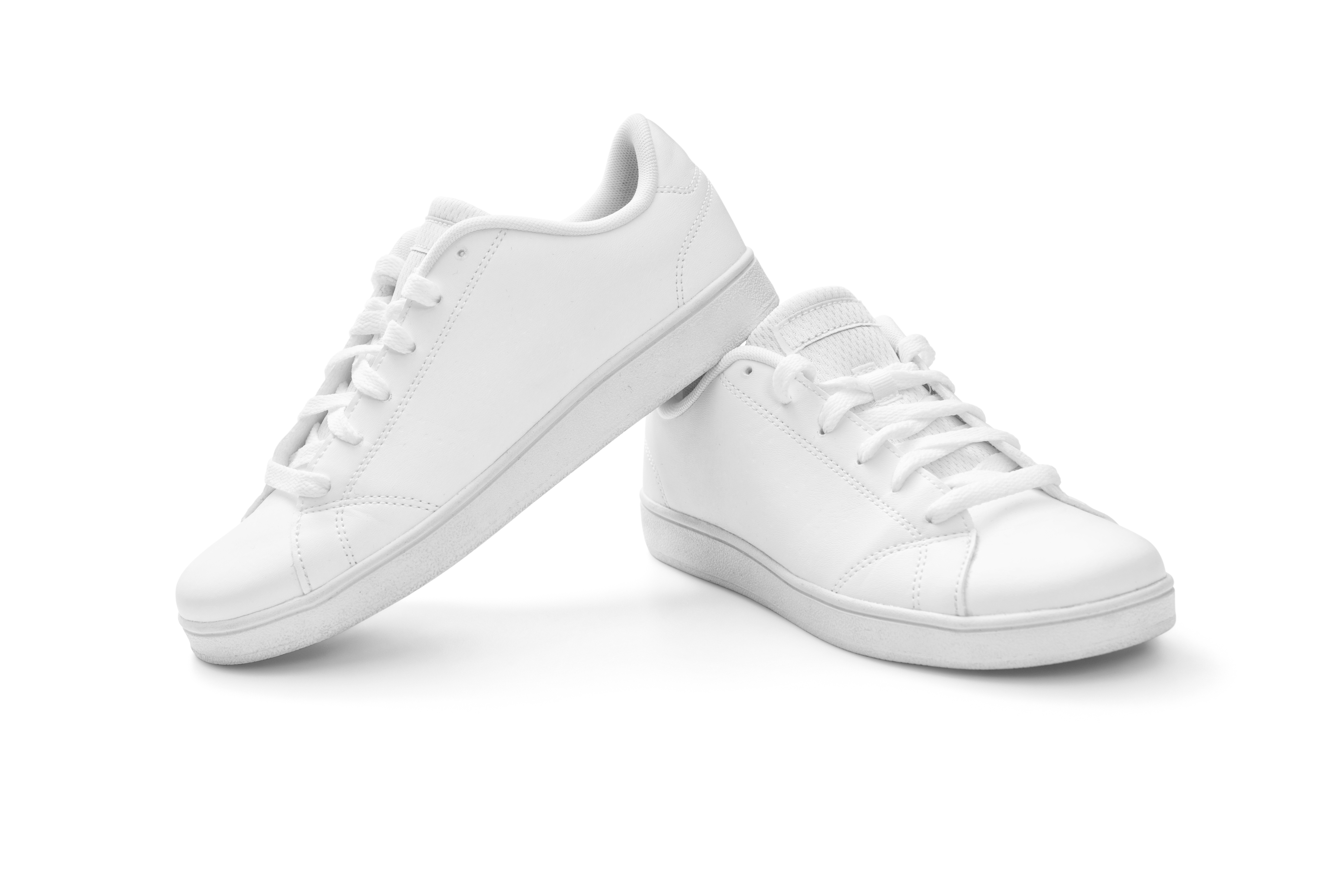 Full white sneakers on white background, including clipping path