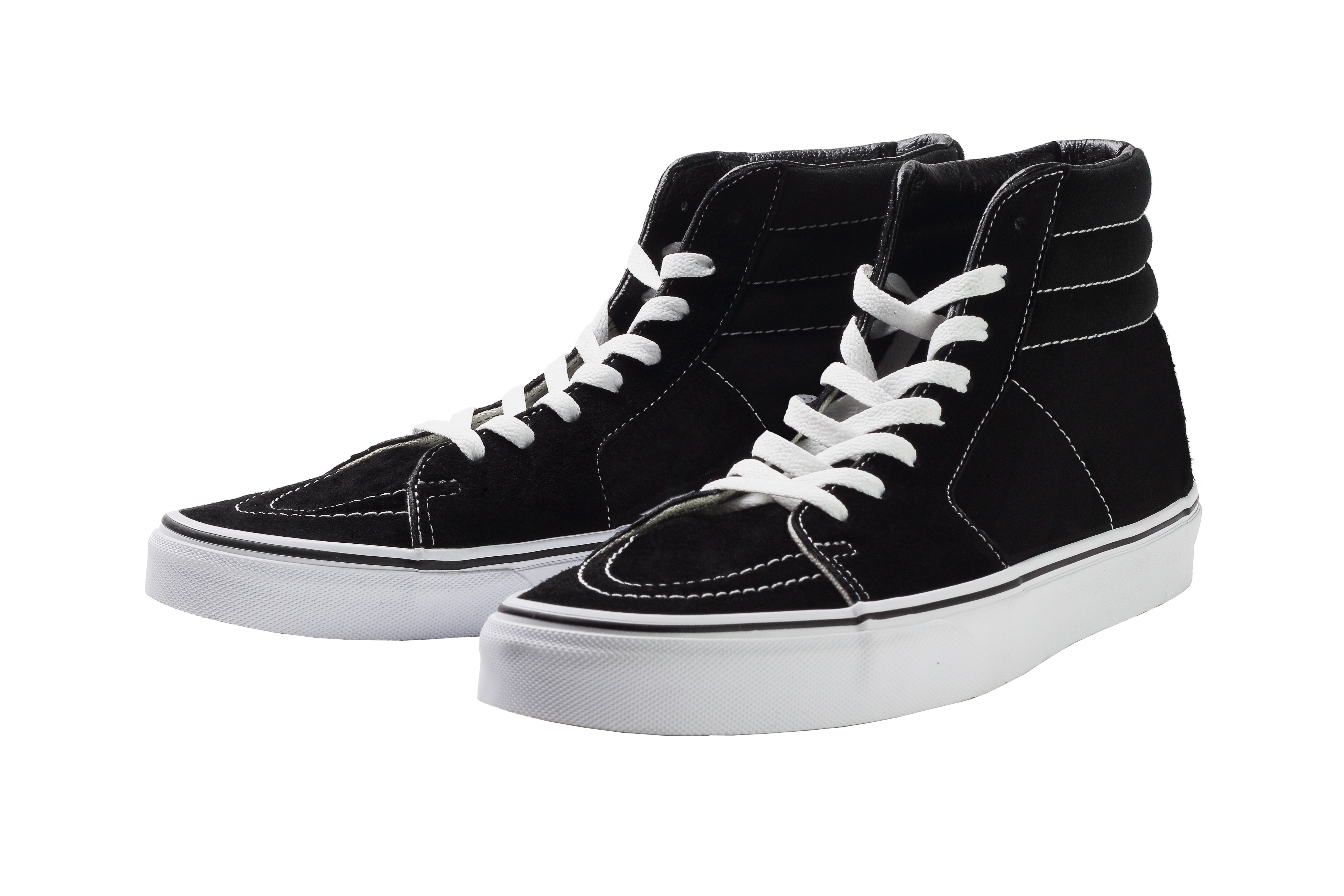 Black High Top Canvas Sneaker on White Background