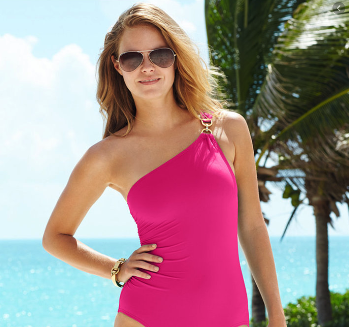 Girl in a pink bathing suit